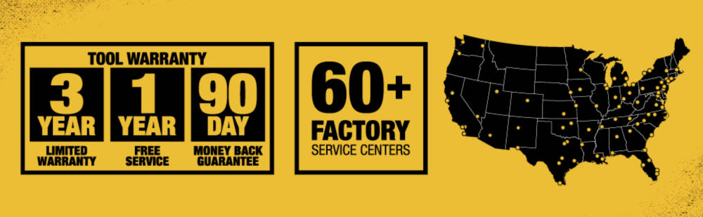 Tool warranty, 60 Plus factory service centers